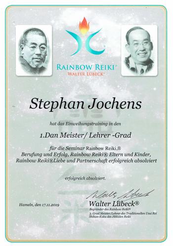 Urkunde Stephan Jochens 1. Dan Meister / Leherer-Grad