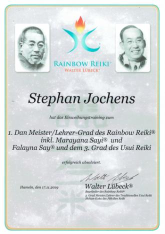 Urkunde von Stephan Jochens 1. Dan Meister