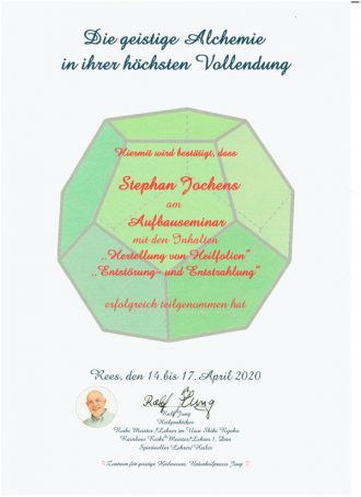 Zertifikat Geistige-Alchemie-Aufbauseminar